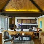 croll residence - living room with pyramid roof from
